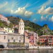 Quaint Village of Riomaggiore, on Cinque Terre coast - Beaut — Stock Photo #35526091