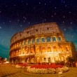 Dramatic sky above Colosseum in Rome. Night view of Flavian Amph — Stock Photo #35534557