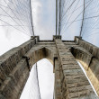 Fisheye view of Brooklyn Bridge Pylon in New York City — Stock Photo