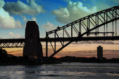Sydney Harbour Bridge Silhouette at Sunset — Stock Photo