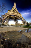 Storm and Lightnings above Eiffel Tower — Stock Photo