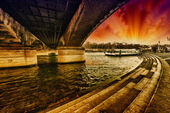 Under Iena Bridge, Paris. View of Seine River — Stock Photo