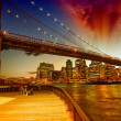 Stock Photo: Brooklyn Bridge at dusk with Manhattan skyline, beautiful sky co