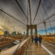 Strolling on Brooklyn Bridge in Winter - New York City — Stock Photo #35763137