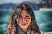Tourist in Cinque Terre Park, Italy — Zdjęcie stockowe