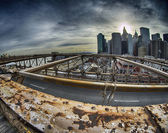 Winter Colors of Brooklyn Bridge - New York City — Stock Photo