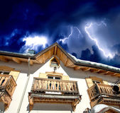 Storm on Italian Alps. Detail of Dolomites Cottage — Stock Photo