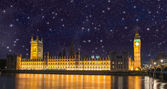 Stars over Big Ben and House of Parliament - Starry night in Lon — Stock Photo