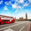 Red Double Decker Bus in the heart of London. Westminster Bridge — Stock Photo