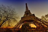 The Eiffel Tower in winter. Bare trees faming Paris landmark — Stock Photo