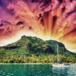 Stock Photo: Wonderful dream island in Polynesiwith small boat and Ocean