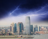 Thunderstorm colors over New York Skyscrapers — Stock Photo