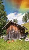 Hut isolated on a beautiful valley — Stock Photo