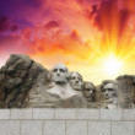 Mount Rushmore - South Dakota. Mountain and Grand View Terrace Wall — Stock Photo #36797879