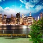 Manhattan skyline at night as seen from Brooklyn Bridge — Stock Photo #36798029