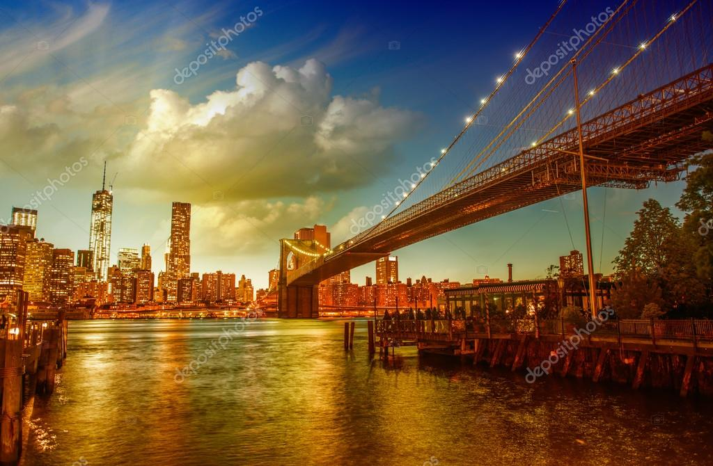 New york city beautiful skyline in summer season stock for New york city beautiful