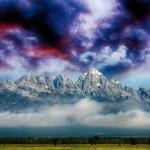 Grand Teton Mountains, Wyoming. Stunning view at dusk — Stock Photo