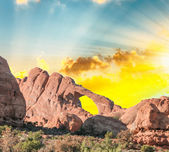 Window Arch in Arches National Park at dusk, Utah — Stock Photo
