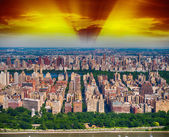 New York. Helicopter view of Central Park area at dusk — Stock Photo