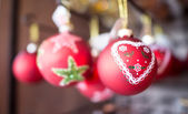 Group of Red Christmas Balls, holiday symbol — Stock fotografie