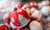 Group of Red Christmas Balls, holiday symbol — Stock Photo