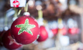 Group of Red Christmas Balls, holiday symbol — Foto de Stock