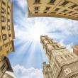 Fishey view of Piazza del Duomo in Florence — Stock Photo