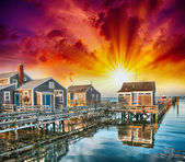 Nantucket, MA. Beautiful Port view with Wooden Homes at sunset — Stock Photo