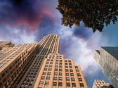 Manhattan buildings as seen from below, New York — Stock Photo