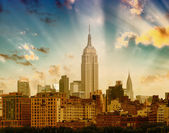 Stunning view of New York - Manhattan skyline at sunset — Foto Stock