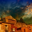 Stock Photo: Roussillon, France. Colorful houses in village of ochre