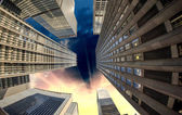 City Skyscrapers, Fisheye Street View — Stock Photo