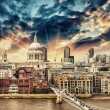 Stock Photo: London. Beautiful aerial view of Millennium Bridge