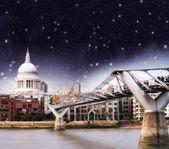 Storm over Millennium Bridge in London — Stock Photo