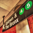 Stock Photo: Uptown ad Bronx subway sign, Manhattan, New York