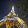 Eiffel Tower Light Performance Show in Dusk — Stock Photo