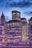 Lower Manhattan Skyscrapers lights at night, new York City — Stock Photo