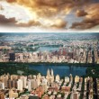 Wonderful aerial view of Central Park, Jacqueline Kennedy Onassis Reservoir — Stock Photo