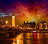 London. Spectacular night view of Westminster and Thames river — Stock Photo