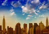 Beautiful sunset aerial view of Midtown Manhattan - New York City — Stock fotografie