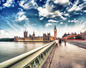 London. Sunset across Westminster Bridge — Stock Photo