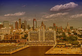 Aerial view of West side Manhattan from Hudson river — Stock Photo