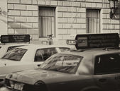 Yellow cabs speed up in city streets — Stock Photo