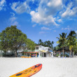 Stock Photo: Colourful surfboard on tropical sunny beach