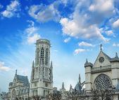 Notre Dame, Paris. Exterior view at sunset — Stock Photo