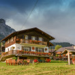 Typical Wooden Home of Dolomites - Italian Mountains — Stock Photo