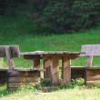 Picnic table and benches — Stock Photo