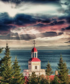 Red buildings of Tadoussac, Quebec. — Stock Photo