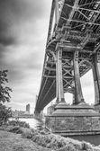 Manhattan bridge bottomon the East river — Stock Photo