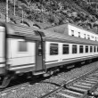 Train speeding up in Cinque Terre railway station, Italy — Stock Photo